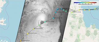 Trevor tropical cyclone trajectory (copernicus-noaa)