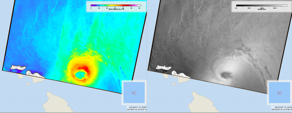 Wind speed and radar roughness map from Radarsat-2 on 2020/07/26 at 16:11 UTC (Credits CYMS / GIS Bretel)