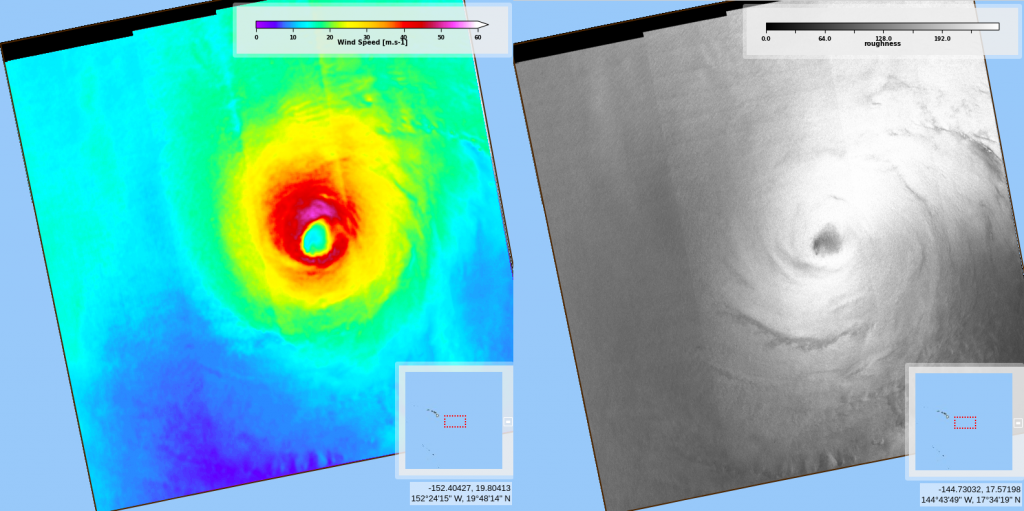 Wind speed and ocean surface roughness from Sentinel-1A on 2020/07/25 at 03:48 UTC (Credits CYMS / Copernicus)