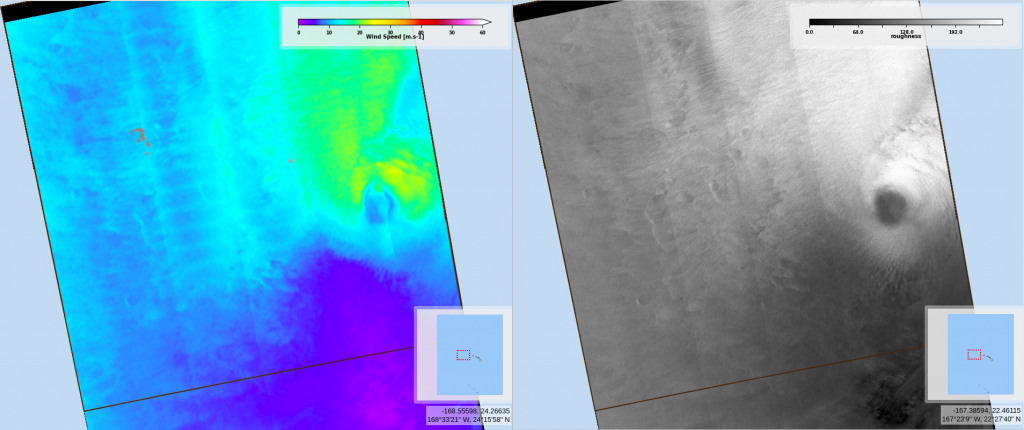 Wind speed and Radar Roughness map from Sentinel-1B on 2020/07/28 at 05:03 UTC (Credits CYMS / Copernicus)