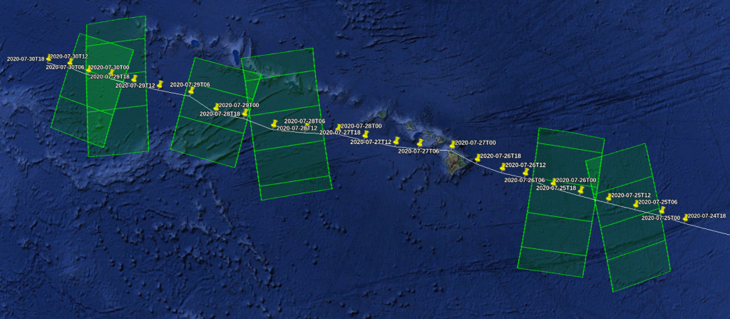 Sentinel-1A and Sentinel-1B acquisitions specifically planned over Douglas for the Tropical Cyclone monitoring
