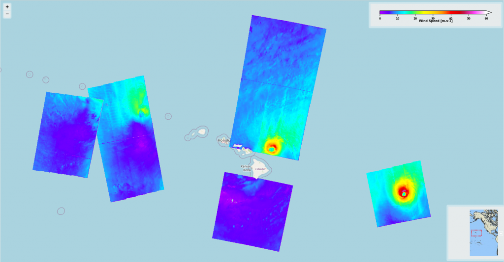The Sentinel-1 acquisitions done over Douglas –derived sea surface wind speed