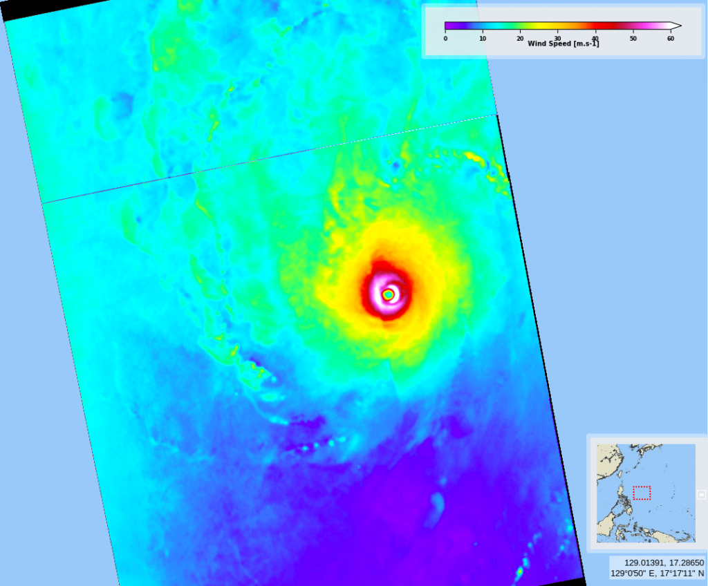 October 30, 2020, 9:25 UTC, wind speed retrieved from Sentinel-1A